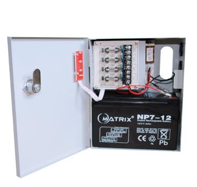 5 AMP CCTV Switching Power Supply with Enclosure + Battery